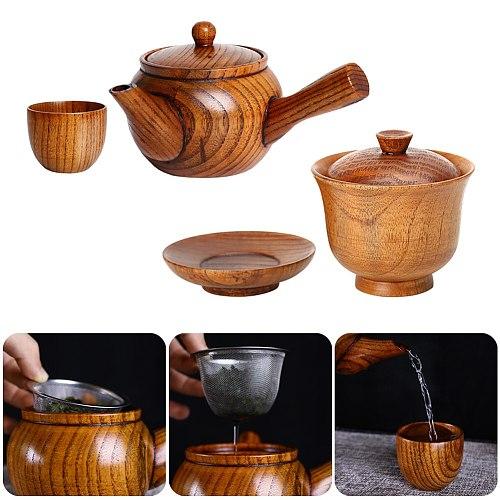 Creative Wooden Tea Set Kung Fu Tea Set Combination Tea Cup Teapot With Lid Flower Teapot Filter Tea Dropshipping