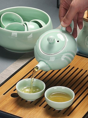 Creative Celadon Kung Fu Tea Set Office Ceramic Tea Cup Cover Bowl Teapot Tea Washing Tray Complete Combination