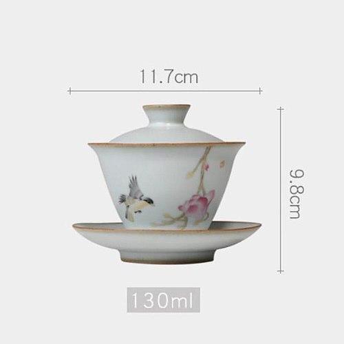 130ml Vintage Ru Kiln Porcelain Gaiwan Ceramic Tea Tureen Ceramic Kung Fu Tea Bowl Teacup Teapots Chinese Gaiwan Drinkware Decor