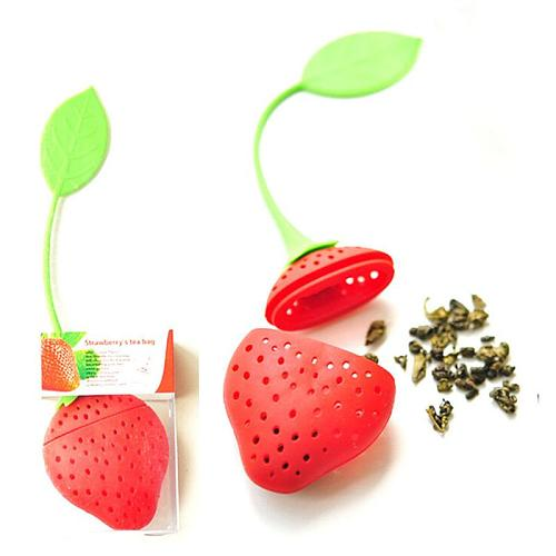 1pcs Strawberry Silicone Tea Bag Strawberry Design Loose Tea Filter Herbal Spice Filter Diffuser Tea Strainers Home Accessories