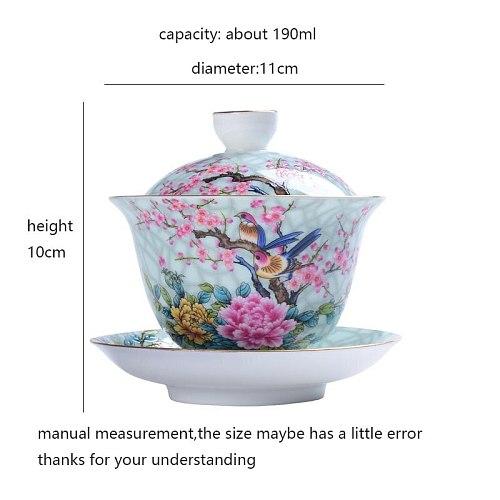 190ml Jingdezhen Gaiwan Ceramic Porcelain Flower Bird Pattern Art Tea Bowl with Saucer Lid Kit Master Tea Tureen  Drinkware Gift