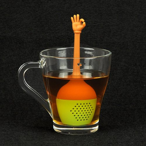 Funny Hand Gesture Shape Tea Infuser Silicone Tea Strainer Loose Leaf Herbal Spice Holder Tea Brewing Tools Kitchen Accessories
