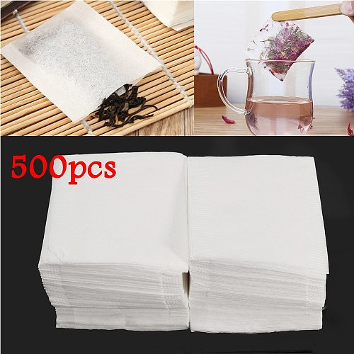 500pcs/Set Empty Teabags Heat Seal Filter Paper Herb Loose Tea Bag White