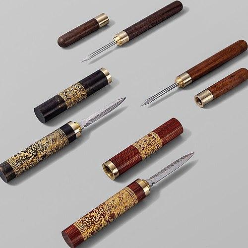 Insert Simple Tea Knife Accessories Cutter Puer Boba Prying Wood Tea Needle Cake Cone Sandalwood Tools Cadeau Teaware DF50CZ