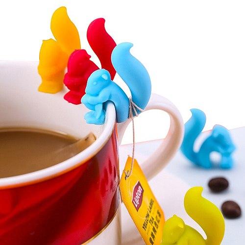 3 Pcs/lot Cute Squirrel Snail Shape Silicone Tea Bag Holder Cup Mug Hanging Tool Tea Balls Tools Random Color Tea Strainers New