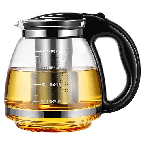 OUNONA Teapot Glass Teapot With Stainless Steel Infuser 1500ml Blooming And Loose Leaf Tea Maker Ideal For Loose Leaf Tea