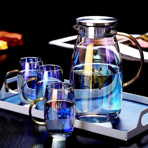 1.8L Colorful Glass Kettle SetHeat-resistant Explosion-proof Teapot Cold Water Juice Jug Large Capacity Drinkware Pot Teacup Set