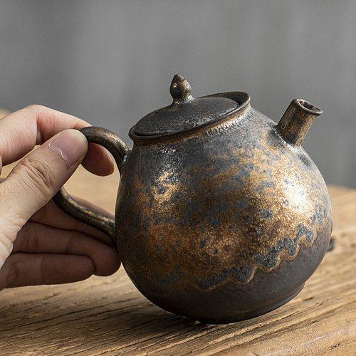 Pure hand-made retro gold rust glazed teapot single pot coarse pottery kung fu tea set ceramic home gift tea maker