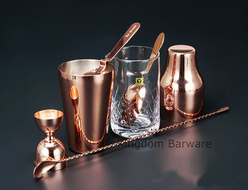 French Style Cocktail Shaker Bartending Tools Bar Sets 6 pieces Including Mixing Glass