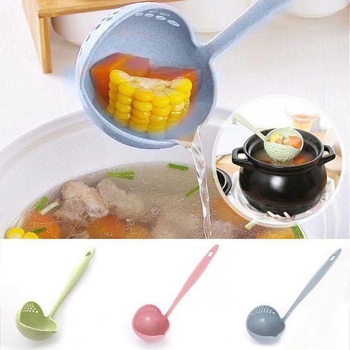 2 In 1 Soup Spoon Long Handle Kitchen Strainer Solid Color Cooking Colander Kitchen Scoop Plastic Tableware Colander Tools