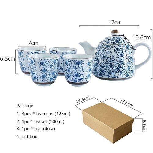 Set of Floral Teaware Underglazed Blue Ceramic Tea Kettle kungfu Tea Kettle Tea Cup with Infuser Best Gift (4 teacups + 1 pot)