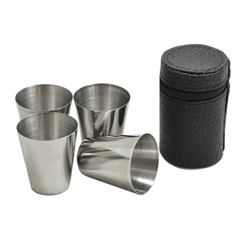 UPORS 4Pcs/Set Stainless Steel Shot Glass Portable 1/2/2.5/6 OZ Wine Cup with Leather Case Mini Pocket Flask Alcohol Cup Bar Set