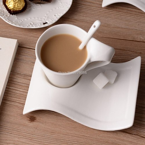 70-220Ml Ceramic Coffee Cup Set Creative Wave Milk Mug and Saucer Set European Couple Tea Cup Set Water Cups