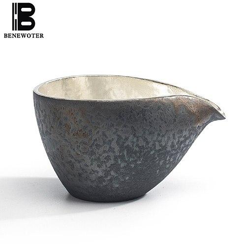 170ml Vintage Handmade Japanese Ceramic Black Pottery Metal Silver Fair Cup Chinese Kung Fu Tea Set Drinkware