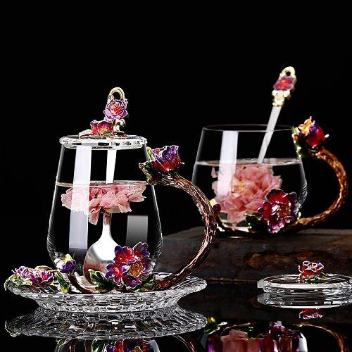 Red Flower Enamel glass coffee mugs tea mugs Handmade heat resistant glasses water Cup drinkware lover gift Afternoon teacup
