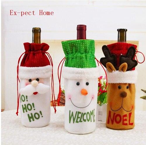 100PCs/lot Christmas decorations New upmarket doll old snowman elk Christmas wine bottle bag Free shipping