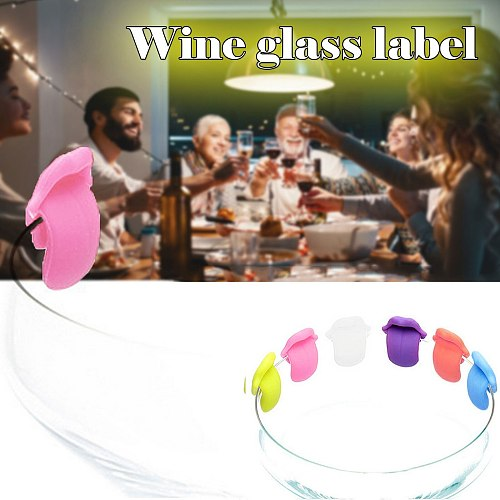 6PCS Wine Glass Mark Glass Recognizer Creative Silica Gel Label Red Wine Cup Drink Glass Tag Bar Accessories cup labels Bar Tool