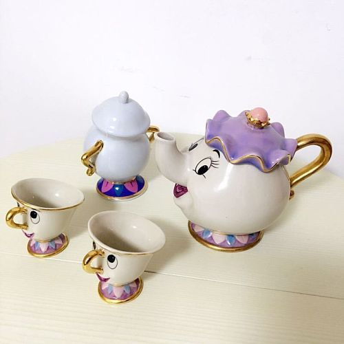 Cartoon Beauty And The Beast Tea Set Mrs Potts Mug And Chips Cup Coffee Cup Set for Friend Gift
