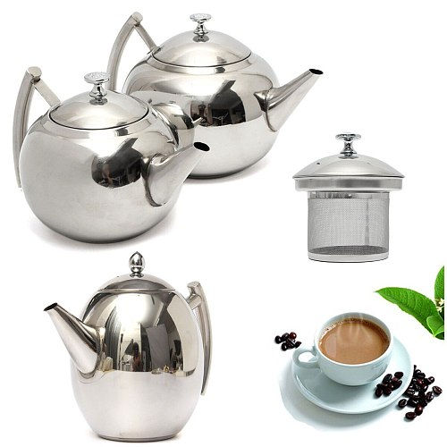 1.5L./2L Stainless Steel Teapot Coffee Maker Pot Kettle with Tea Leaf Infuser Filter Coffee Maker Large Capacity Kung Fu Tea Set