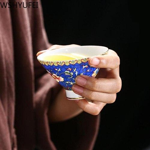 WSHYUFEI 2 PCS Jingdezhen Ceramic teacup Hand Painted Phnom Penh tea cup Authentic handmade personal cup Master Cup tea set 70ml