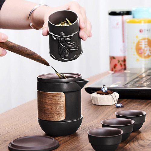 Yixing Purple sand tea set black/red ceramic kung fu Teapot gaiwan Purple sand teapot teacup tea ceremony Travel Portable Teaset