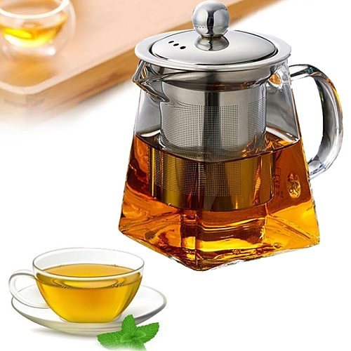 High Temperature Resistance Glass Tea Set Heat Resistant Glass Stainless Steel Filtering Teapot Square Flower Teapot