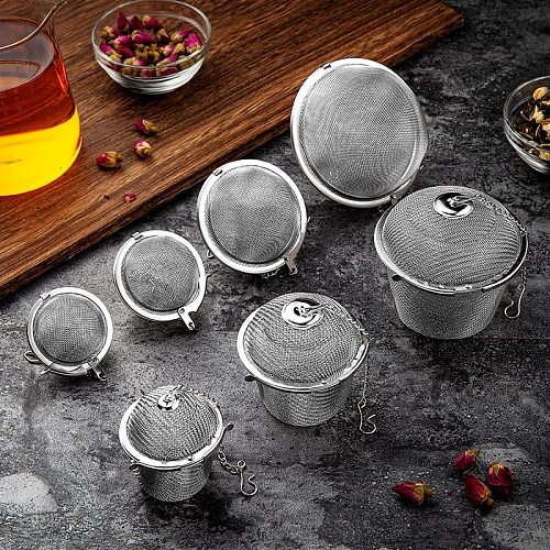 1pc Stainless Steel Tea Infuser Sphere For Teapot Locking Spice Herbal Tea Filter Teapot Infusor Tools Strainer Mesh Infuser