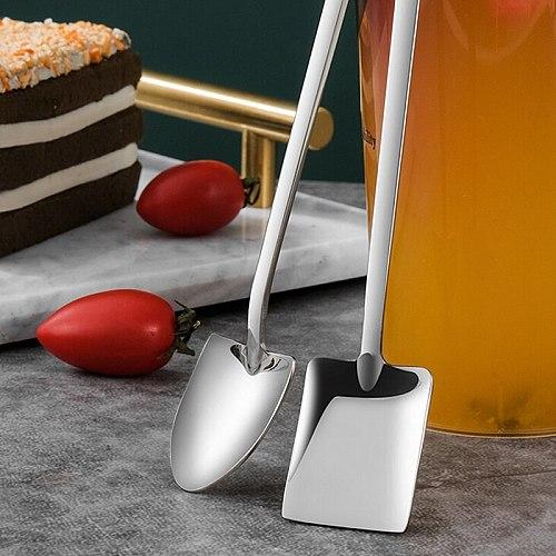 1PC Long Handle Stainless Steel Coffee Spoon Square Shovel Stirring Scoop Dessert Flatware Milk Tea Tools Cafe Kitchen Supplies