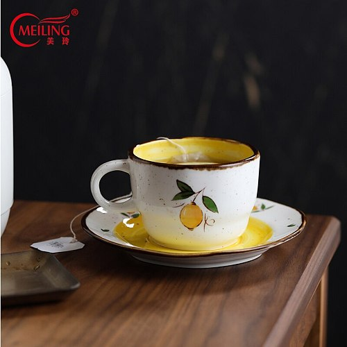 MEILING Vintage Lemon Coffee Cup and Saucer Ceramic Tea Mugs Set Kitchen Utensil Fresh Coffee Cup Unique Gift for Boss Mon Here