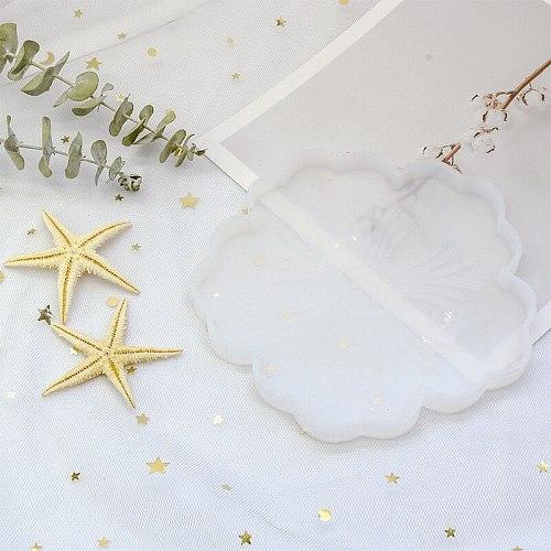 DIY Crystal Epoxy Flower Tea Tray Coaster Mold Handmade Cherry Blossom Tray Resin Silicone Mold for Jewelry Decoration