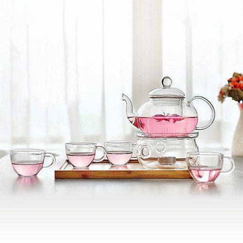 6 pcs Tea Set 1pc Tea Pot with 4pcs Cups and 1pc Warmth Teaware Flowers Tea Sets Kungfu Teaware Household Teaware Glass Teapot