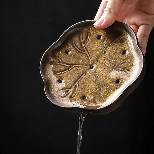 PINNY Retro Ceramic Gold Glaze  Teapot Trivets Pigmented Pot Bearing Japanese Style Kung Fu Tea Service
