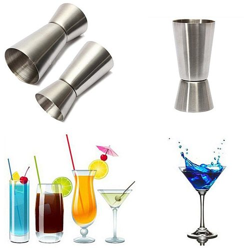 1pc Stainless Steel Cocktail Shaker Measure Cup Dual Shot Drink Spirit Measure Jigger Kitchen Gadgets #50g