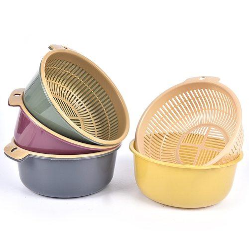 1PCS Detachable Double-layer Plastic Food Strainer Hollow Fruit Vegetable Wash Colander Kitchen Cleaning Washing Basket Strainer