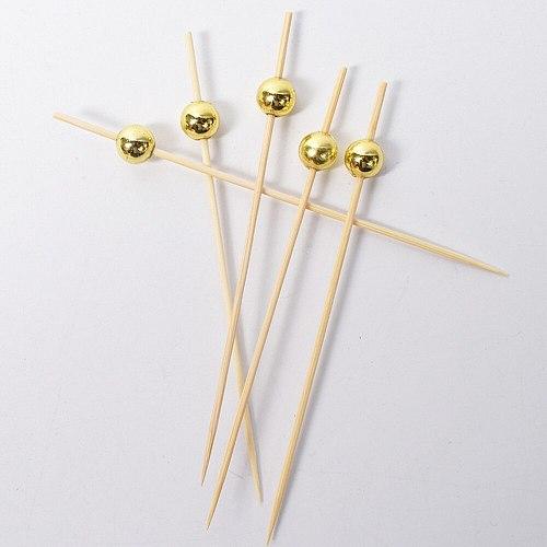 100 Pcs 12 Cocktail Picks Creative Round Beads Appetizer Picks Fruit Toothpicks Party Supplies (Golden)