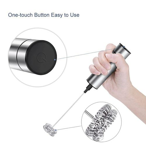 Hot! Powerful Electric Milk Frother With 2pcs Stainless Steel Spring Whisk Foam Maker