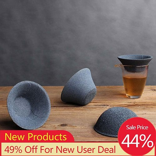 Ceramics Tea Strainers Reusable Coffee Filter Infusers Kung Fu Tea Set Dripper Bowl Shape Non-Porous Strainers Home Accessories