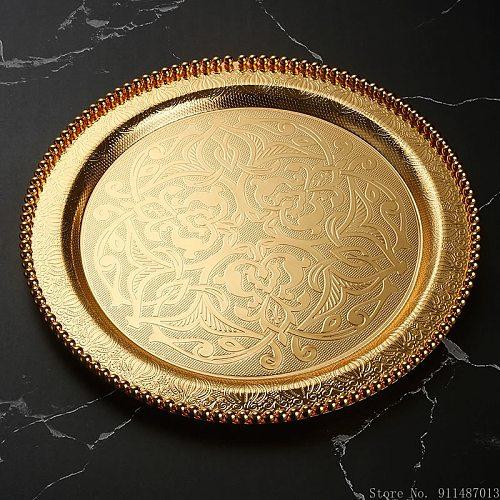European-style round dessert tray hotel living room bar dinner plate gift homeware tea tray stainless steel tableware