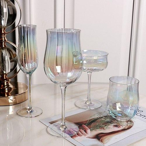 Drink&Art  2PCS Tulip Lead-free Crystal Wine Glass Juice Cup Wine Set  Wine Decanter Cocktail-glass Home Bars Bar Set Drinkware
