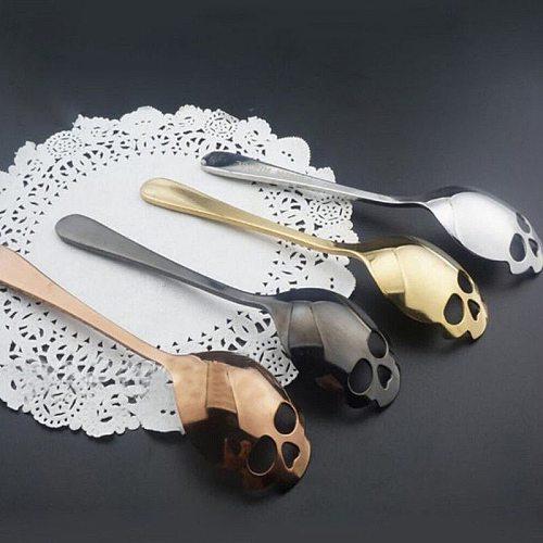 1 Pc Gothic Stainless Steel Skull Shape Coffee Spoon Kitchen Supplies Long Handle Teaspoon Drink Tableware Coffee Spoon