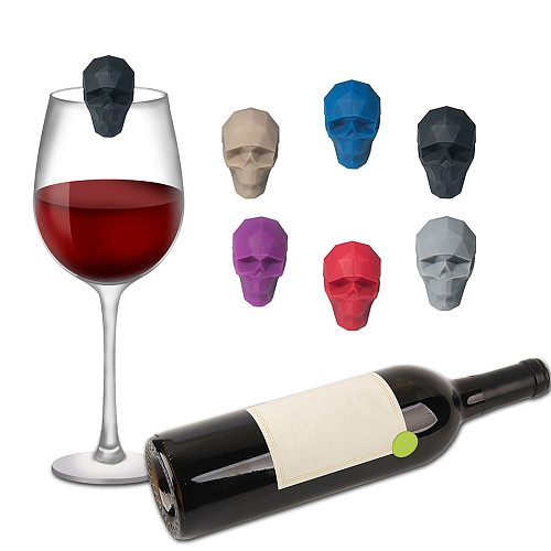 6pcs Silicone Red Wine Glass Marker Creative Skull Marker Charm Drinking Glass Identification Cup Labels Mark Signs for Party