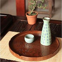 Round Cherry Solid Wood Tea Coffee Snack Food Meals Serving Tray Plate Restaurant Trays Kitchen Wood Food Fruit Disc Tea Tray
