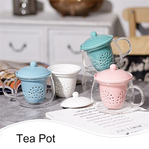 Glass Teapot with Ceramic filter Teacup Set Heat Resistant Glass Teapot With Tea Infuser Puer Oolong Tea Kettle Office Tea Cup