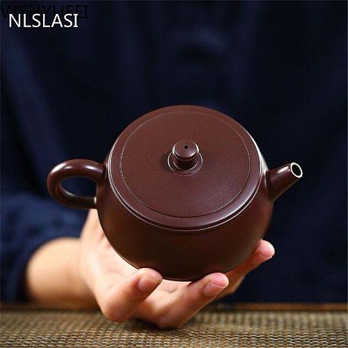 Yixing Teapot purple clay tea pot Handmade kettle Tie Guanyin zisha Tea set Raw ore Purple mud teaware Customized gifts 210ml