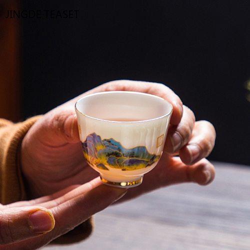 4 pcs/lot Chinese Ceramic Teacup Coffee cup Exquisite Suet jade Tea Bowl Handmade Porcelain Tea set Drinkware Travel Single Cup
