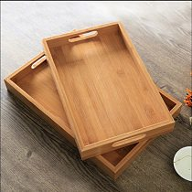 Japanese Bamboo Square Tray Wood Rectangular Plates for Food Snack Tea Coffee Cocktail Meals Fruit Tray Home Cake Breakfast Tray