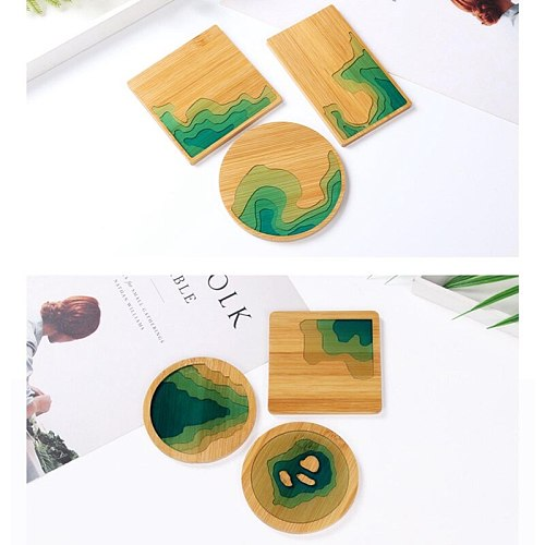 1pc Fruit Disc Tea Tray Coaster Mold Bamboo Coaster Mold for DIY Resin Epoxy Crafts Making Accessories Cake Fruit Holder Plate