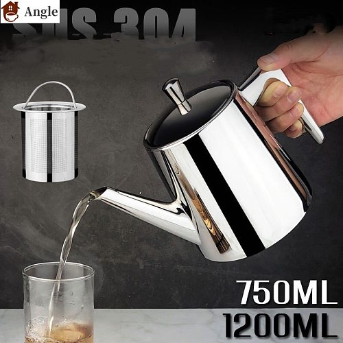 750/1200ML Teapot Coffee Pot Water Kettle With Filter  304 Stainless Steel  thick wall applied on induction cooker