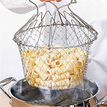 1pc Stainless Steel Foldable Fry Basket Steam Rinse Strain Fry French Chef Basket Mesh Basket Strainer Net Kitchen Cooking Tool