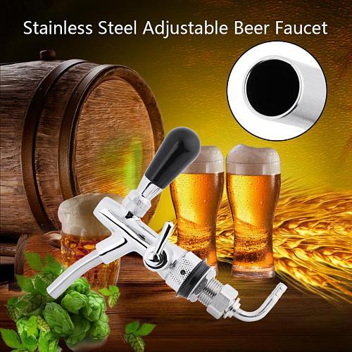G5/8 Beer Tap Adjustable Stainless Steel Beer Faucet Draft Shank Chrome Plating Homebrew Draft Shank Beer